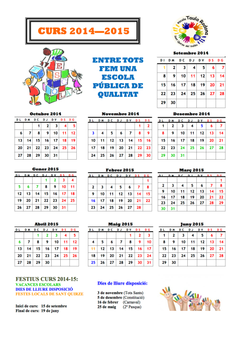 Calendari TR curs 14-15