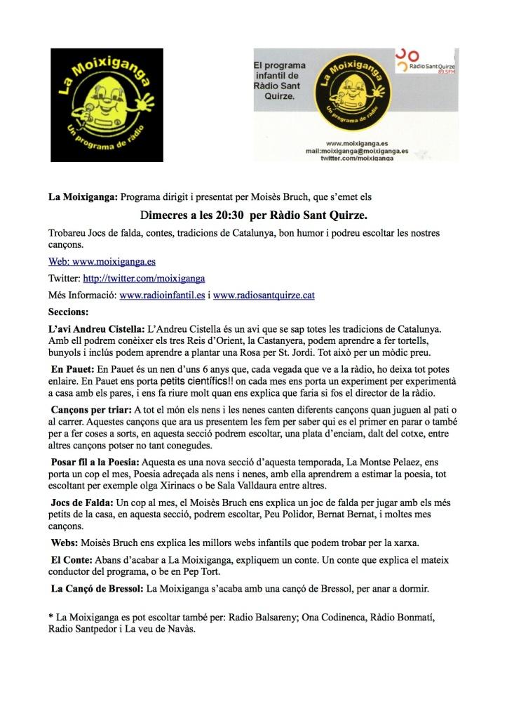El programa infantil La Moixiganga a Ràdio Sant Quirze