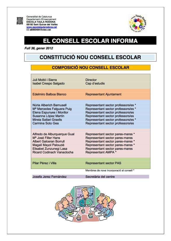 Consell escolar a gener 2013