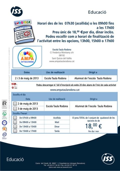 ludoteques dies 2 i 3 de maig de 2013. escola taula rodona
