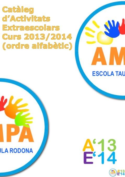CATÀLEG D'ACTIVITATS EXTRAESCOLARS 2013-2014 - ESCOLA TAULA RODONA