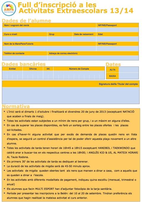 FULL ÚNIC D'INSCRIPCIÓ D'ACTIVITATS EXTRAESCOLARS 2013-2014 - ESCOLA TAULA RODONA