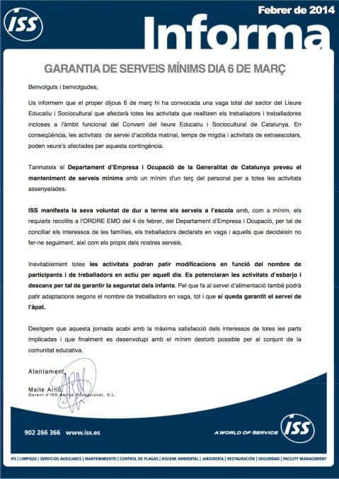 ISS informa. SERVEIS MÍNIMS DIJOUS 6 DE MARÇ DE 2014