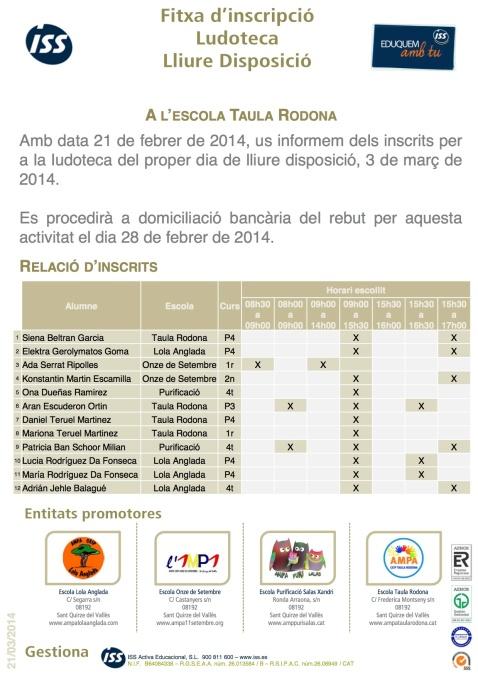 LUDOTEQUES SANT QUIRZE DEL V. 2013-2014. llistat inscrits 11_00 AM