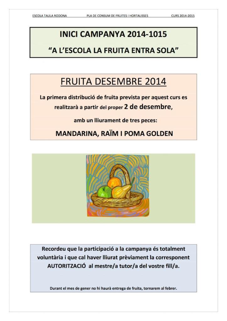 INICI PLA CONSUM DE FRUITA 14-15