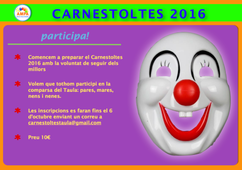 Avís inscripció Carnestoltes 2016