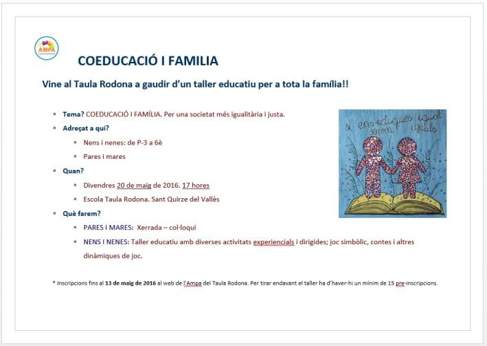 taller coeducació i família cartell